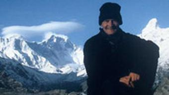 Stefan Nestler, author of the 2007 Manaslu Blog, photographed with the peak in the background