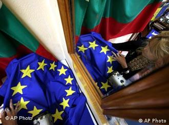 An EU flag is inspected at a small private company which manufactures flags in the Bulgarian capital of Sofia