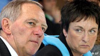 German Interior Minister Wolfgang Schäuble, left, and German Justice Minister Brigitte Zypries
