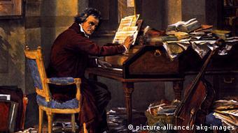 Бетховен сочиняет: картина Карла Шлёссера конца 19-го века