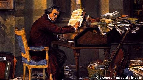Beethoven composing - Heliotype, colored, based on a paiting, around 1890, by Carl Schlösser