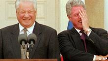 **FILE** U.S. President Bill Clinton, right, breaks into laughter after Russian President Boris Yeltsin, left, made a comment about journalists at a news conference in Hyde Park, N.Y., in this Oct. 23, 1995 file photo. Former President Boris Yeltsin, who engineered the final collapse of the Soviet Union and pushed Russia to embrace democracy and a market economy, has died, a Kremlin official said Monday, April 23, 2007. He was 76. (AP Photo/Jim McKnight, file )
