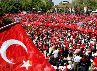 As the tension between the government and the army grows, Turks take to the streets
