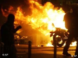 Burning motorcycle in Paris