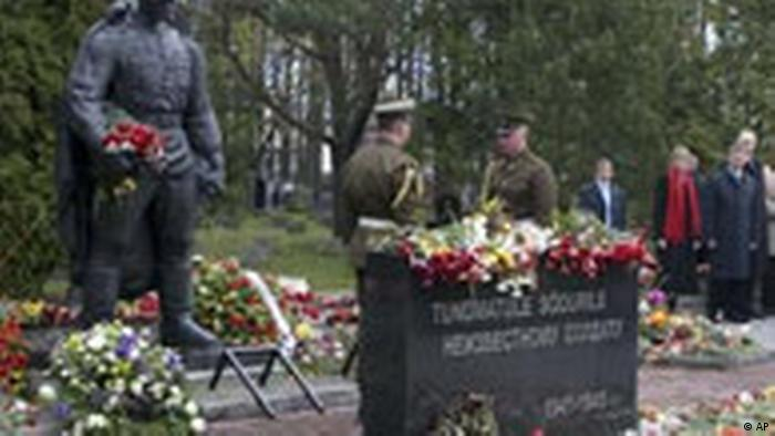 Flowers on a Russian memorial in Tallinn Estonia (AP)