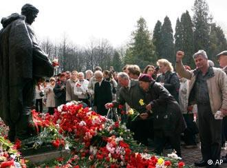 Ethnic Russians paid their respects at the relocated memorial in May