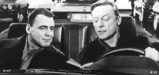 Film scene from Wings of Desire with Buno Ganz and Otto Sander in a car in Berlin