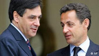 Nicolas Sarkozy, right, with French Prime Minister Francois Fillon