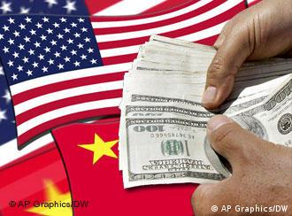 US, China flags behind a hand full of dollars