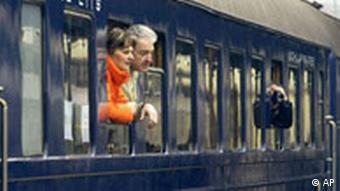 A quelques instants du premier voyage du Train Bleu de Tito restauré.