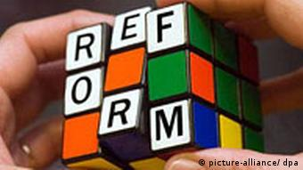 Rubik's cube with the word reform