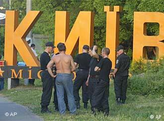 Interior Ministry soldiers gathered outside Kiev in readiness before a deal was struck
