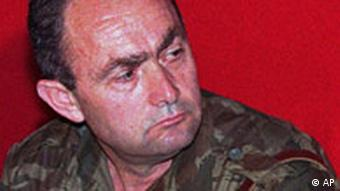 ** FILE ** Bosnian Serb Gen. Zdravko Tolimir is seen on Mt. Jahorina, near Sarajevo, in this July 25, 1996 file photo. Tolimir, considered the third most wanted war crimes fugitive in the Balkans after Ratko Mladic and Radovan Karadzic, was arrested on the Bosnia-Serbia border Thursday, May 31, 2007, said Serbian officials, who demanded anonymity. Gen. Tolimir, indicted by the U.N. war crimes tribunal in The Hague, Netherlands, was Mladic's top Bosnian Serb military aide during the slaughter of up to 8,000 Bosnians in Srebrenica in 1995, the worst carnage in Europe since World War II. (AP Photo/Sava Radovanovic, file)