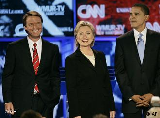 Die Demokraten John Edwards, Hillary Clinton und Barack Obama (Quelle: Ap)