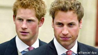 England's Prince Harry and Prince William