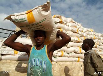 Ein Mann trägt einen Sack Getreide auf dem Kopf. Im Hintergrund noch mehr Säcke. (Quelle: AP)
