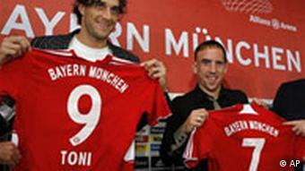 Bayern Munich Luca Toni and Franck Ribery