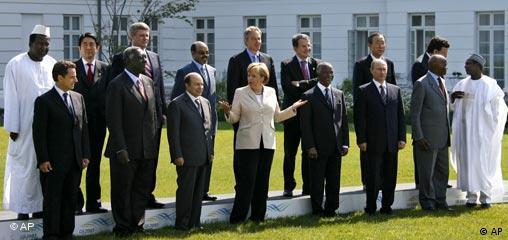 Deutschland G8 Teilnehmer Gruppenfoto mit Vertretern Afrika