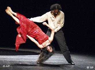 This photo, supplied by the Brooklyn Academy of Music, shows Jorge Puerta Armenta and Ruth Amarante during dress rehearsal for Tanztheater Wuppertal Pina Bausch's Nefes at the BAM Opera House in New York