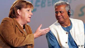 Podiumsdiskussion mit Merkel und Yunus