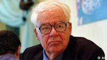 American philosopher Richard Rorty who is based at Stanford University, CA, USA, sits before his address entitled philosophy and democracy in Tehran, Iran, on Saturday June 12, 2004. Rorty, arrived here on Friday for three days lecture visit. (AP Photo/Hasan Sarbakhshian)