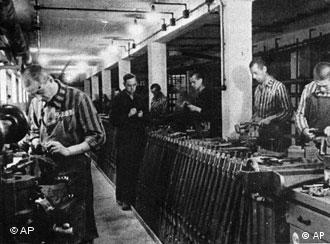 Nazi prisoners working in a munitions factory