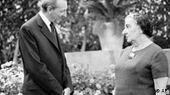 United Nations Secretary General Kurt Waldheim calls on former Israeli Premier Golda Meir