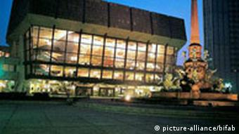 The Gewandhaus orchestra house is shown by night