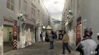 A computer generated image of an exhibition showing a typical 19th century Jewish street in a Polish town, to be shown inside the planned Museum of the History of Polish Jews.