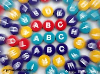 The ABC's on colorful discs, many of which are out of focus