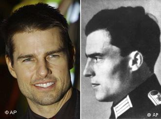 Portrait of Hollywood actor Tom Cruise to the left and a black and white photo of anti-Hitler plotter von Stauffenberg to the right