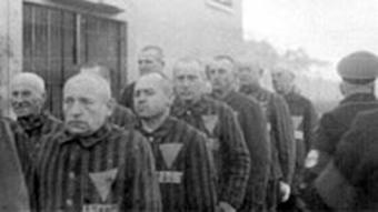 Sachsenhausen prisoners standing in line