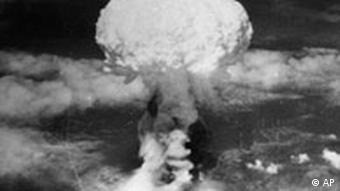 The mushroom cloud from the atomic bomb dropped on Nagasaki, Japan by the United States during World War II.