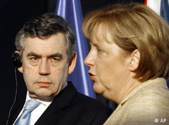 German Chancellor Angela Merkel, right, and British Prime Minister Gordon Brown