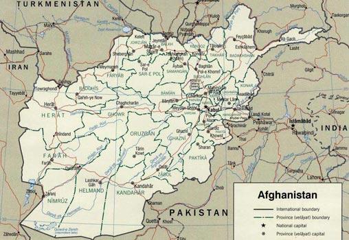 Politische Karte Afghanistans - englisch