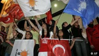 AKP supporters celebrate their party's victory