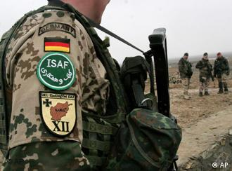 A German ISAF soldier in Kabul