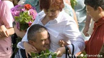 Die bulgarische Krankenschwester Kristina Valcheva bei ihrer Ankunft in Sofia, Quelle: dpa