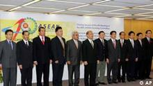 Philippine Secretary of Foreign Affairs Alberto Romulo, sixth from left, poses with Southeast Asian diplomats, from left Latif Tuah from Brunei, Kan Pharidh from Cambodia, Dian Triansyah Djani from Indonesia, Hussein Haniff from Malaysia, U Min Lwin from Myanmar, Lusi Cruz from the Philippines, Secretary Romulo, Jacky Foo from Singapore, Nopadol Gunavibool from Thailand, Nguyen Hong Coung from Vietnam and Ong Keng Yong ASEAN Secretariat after the closing session of the 4th Meeting of the 40th ASEAN Standing Committee Saturday, July 28, 2007, in Manila, Philippines. The Southeast Asian diplomats struggled to settle their differences over the creation of a human rights body under a proposed regional charter, delaying its completion. (AP Photo/Pat Roque)