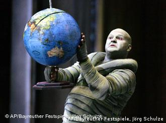 An undated picture shows a scene with Gerhard Siegel in the role of dwarf Mime, during a rehearsal for the opera Siegfried by Richard Wagner for the Richard Wagner Festival 2007 in Bayreuth