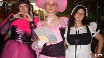 Three female fans at the Manga fair in Bonn