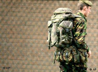 A British soldier wearing a backpack
