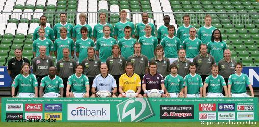 Fußball - Mannschaftsfoto Werder Bremen Saison 2007-2008