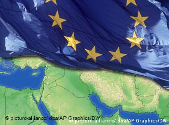 Graphic of an EU flag and map
