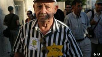 Old man wearing striped shirt and yellow star of david