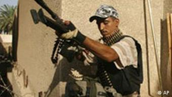 An Iraqi member of the Freedom Fighters, former insurgents who have joined forces with the U.S.