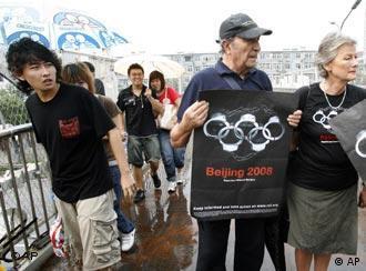 记者无疆界组织在北京示威要求新闻自由