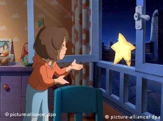 An animated film scene in which a little girl approaches a star in her room