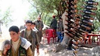 Kurdish rebels of the separatist Kurdistan Workers' Party, or PKK, are seen near the Turkish border