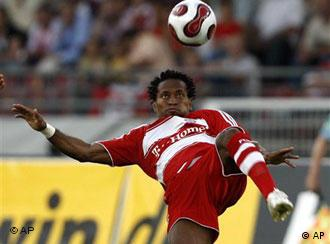 Munich player Ze Roberto lies on the field during the semi final first leg UEFA Cup match between FC Bayern Munich and FC Zenit St. Petersburg in Munich
